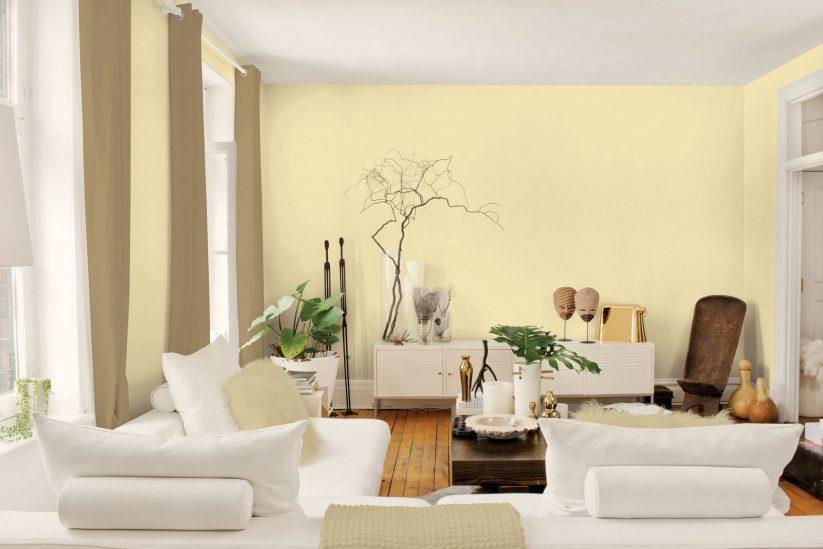 Phòng khách với màu vàng đẹp tinh tế