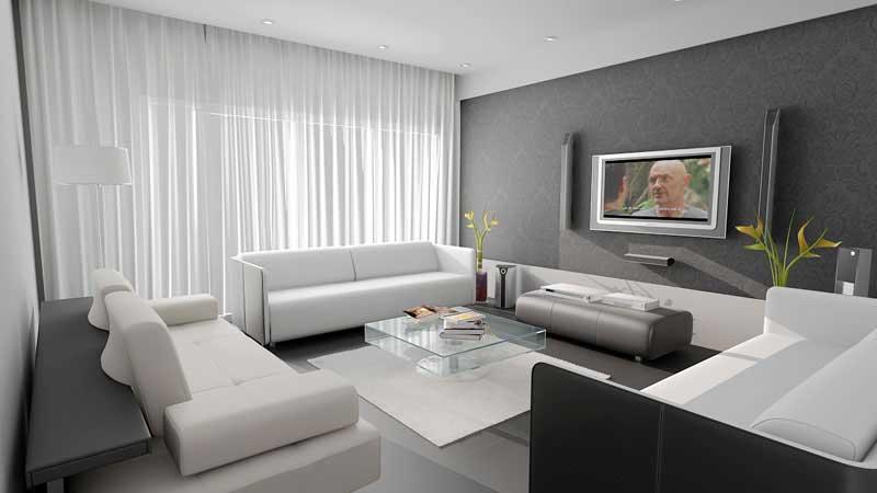 Phòng khách với màu ghi trong sơn nội thất đẹp