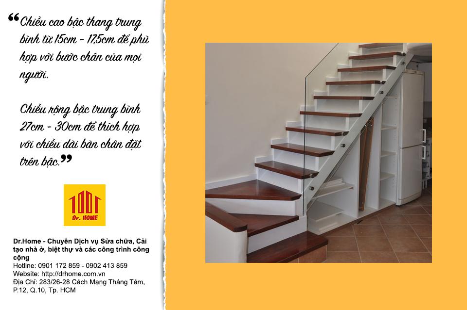 Chiều cao cầu thang là điểm quan trọng