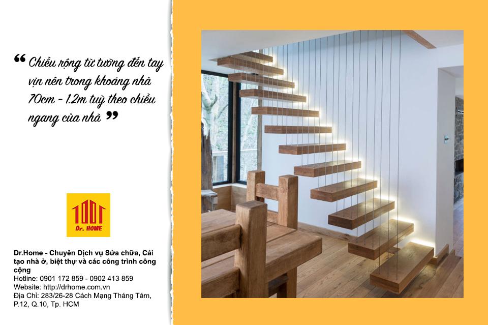 Phải cân nhắc thiết kế cầu thang có chiều rộng thích hợp