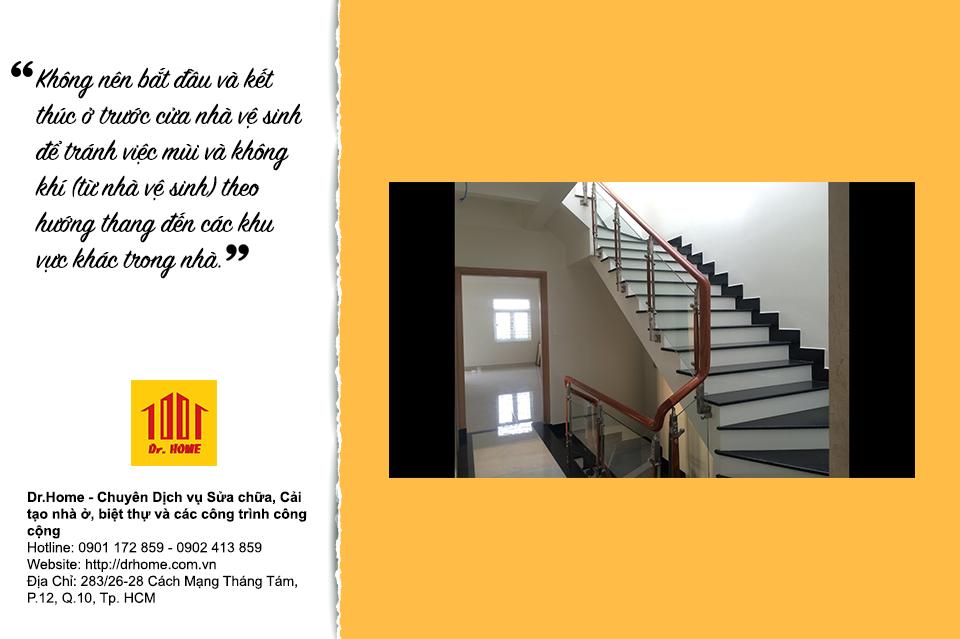 Vị trí đặt cầu thang cũng quan trọng vì ảnh hưởng phong thuỷ