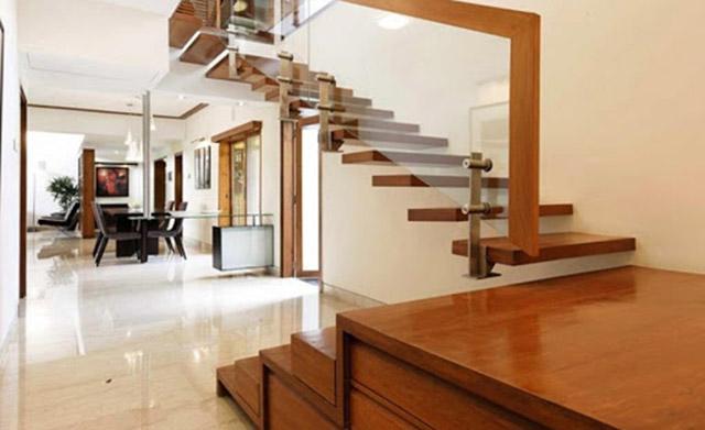 Mẫu cầu thang gỗ chữ L