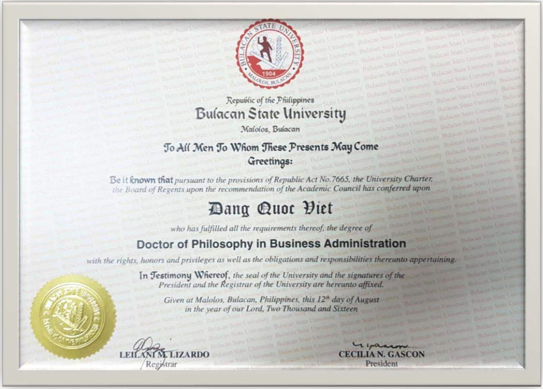 Bang Tien si PhD cua anh Dang Quoc Viet
