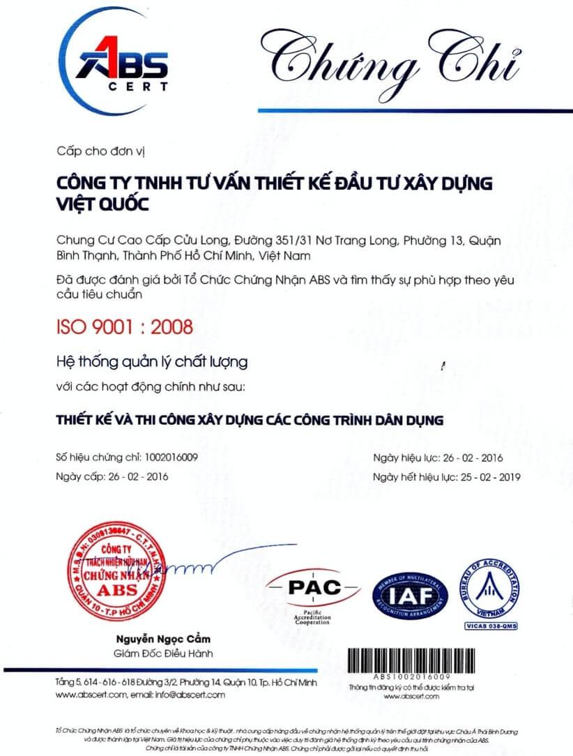 Chung chi ISO 9001:2008