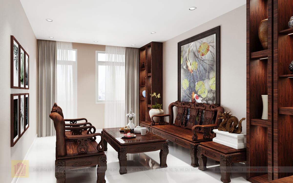Doctor Home thiet ke noi that cho phong khach tang tret nha pho chu Hieu tai Quan 10 view-3