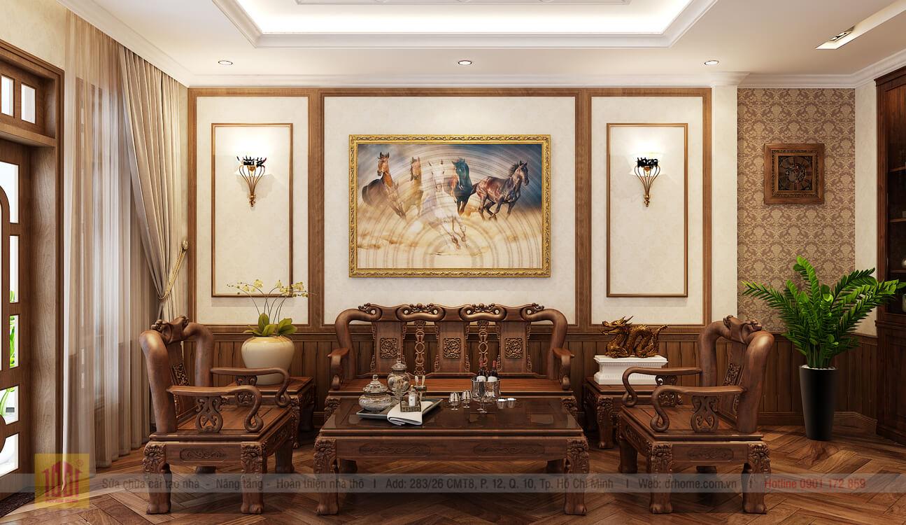 Doctor Home thiet ke phoi canh phong khach view 1 nha pho chi Huong o Binh Thanh