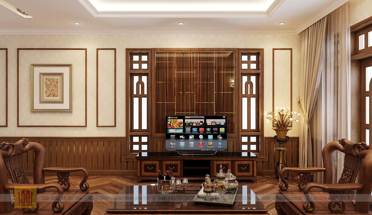 Doctor Home thiet ke phoi canh phong khach view 2 nha pho chi Huong o Binh Thanh