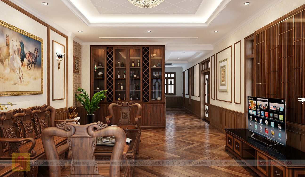 Doctor Home thiet ke phoi canh phong khach view 3 nha pho chi Huong o Binh Thanh