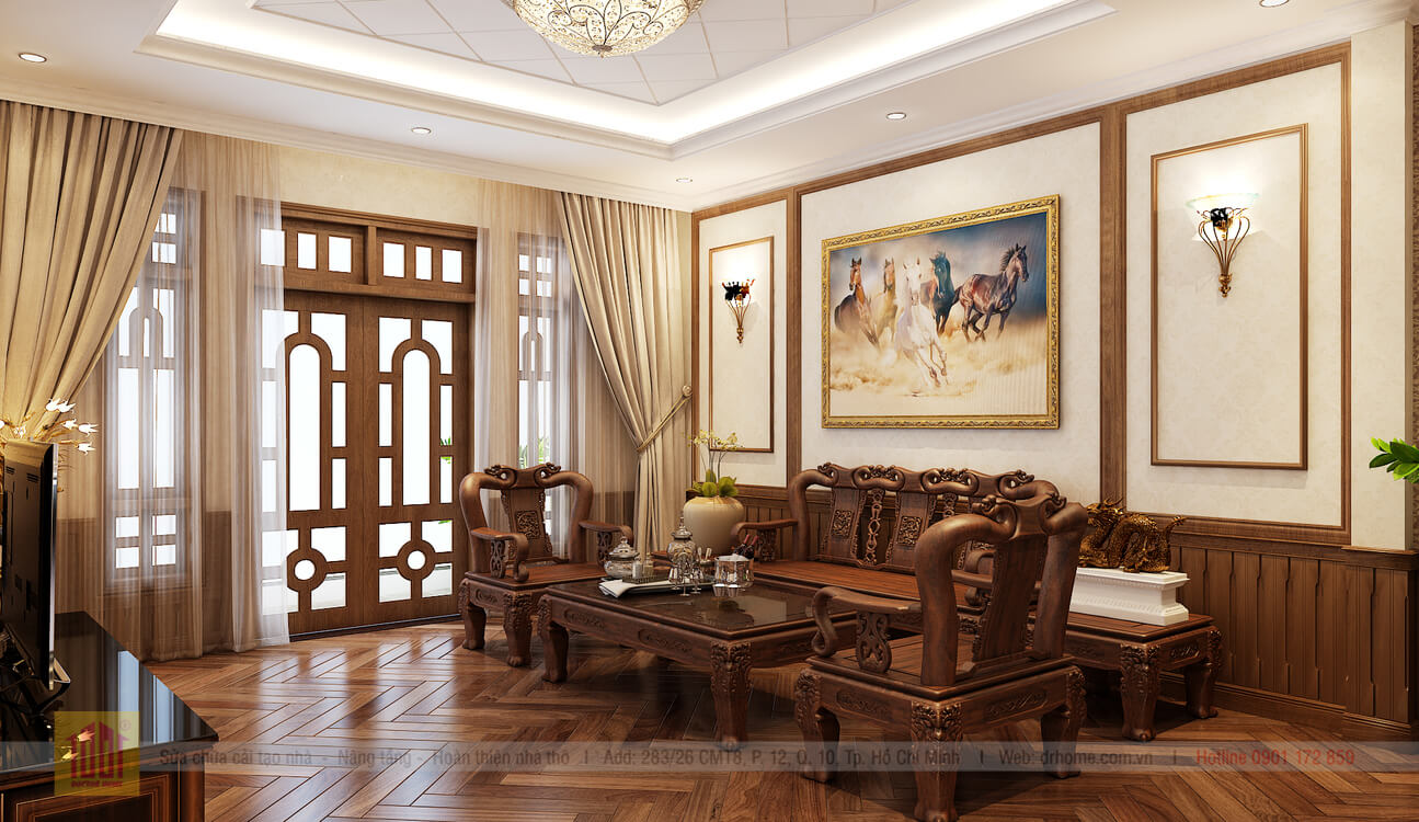 Doctor Home thiet ke phoi canh phong khach view 4 nha pho chi Huong o Binh Thanh