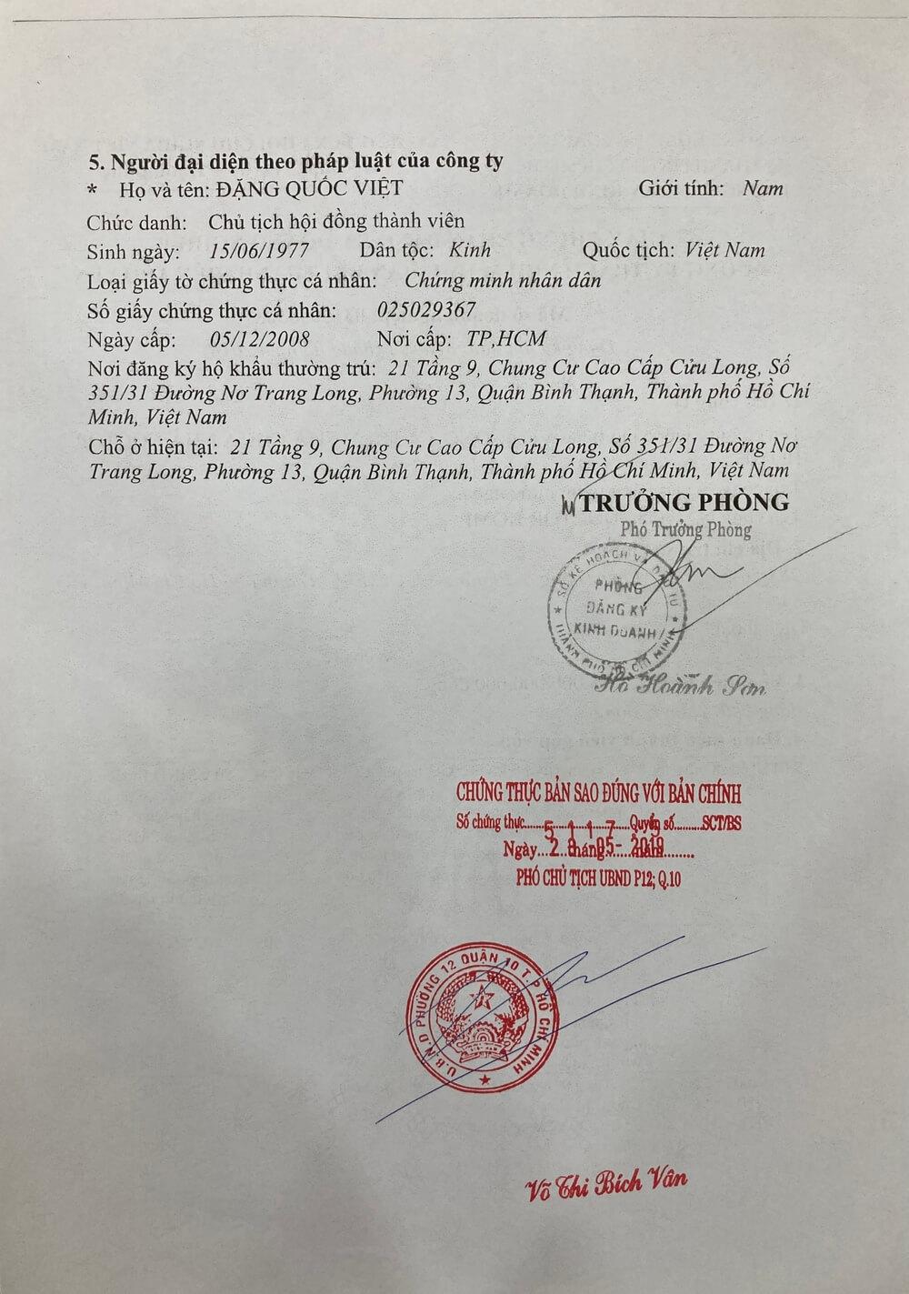 Giay Chung nhan dang ky doanh nghiep Cong ty TNHH Sua chua nha Doctor Home 2