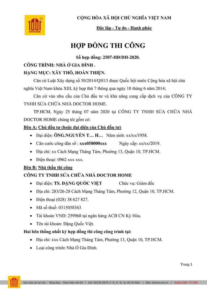 Mau hop dong xay dung nha tron goi Page 1